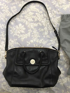 Oroton Black Leather Paddington Tote As New