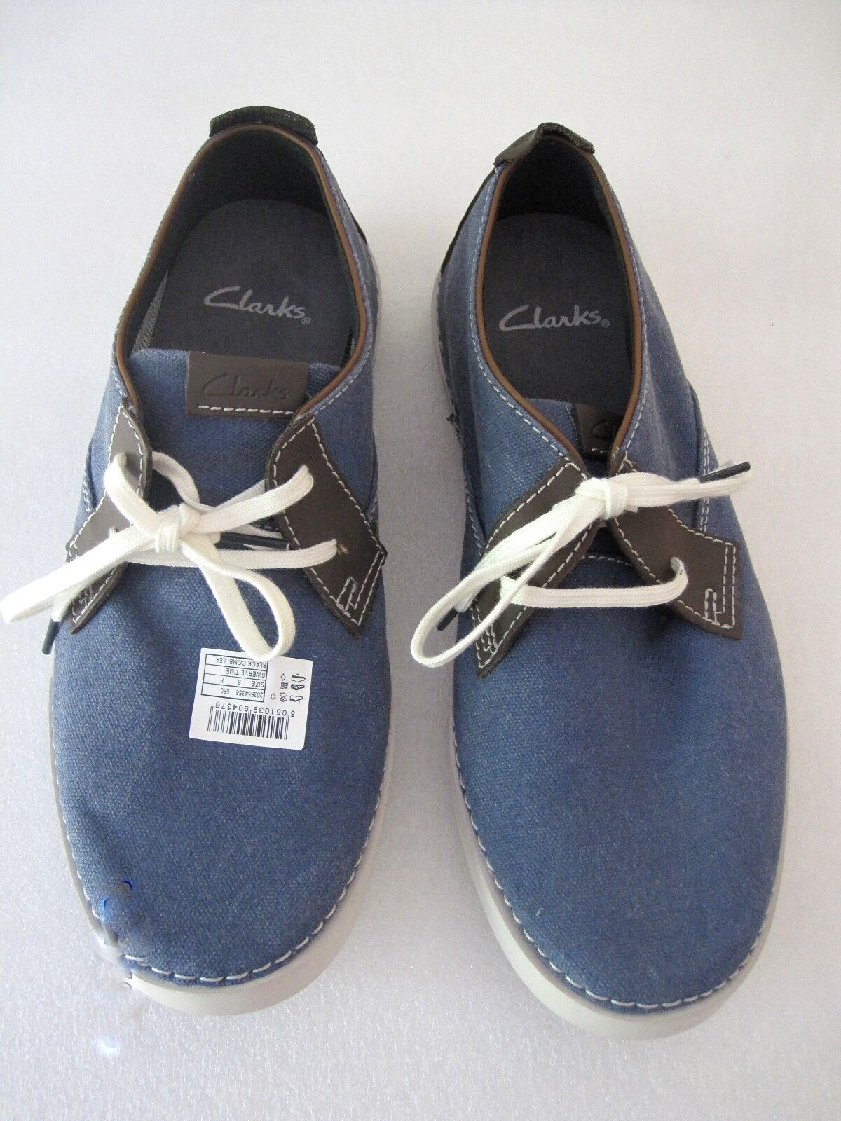 BN MEN'S Sz 8.5 CLARKS NEELIX VIBE BLUE CANVAS and LEATHER OXFORD SHOES WINTER SUN