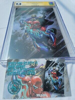 Spiderman Velocity #1 CGC 9.8 SS Virgin Variant w/ COA | Signed by Clayton Crain