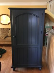 French blue Pottery Barn storage cabinet
