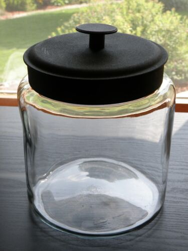 "Anchor Hocking MONTANA Clear Glass Round 9"" Apothecary Storage Jar Black Lid."