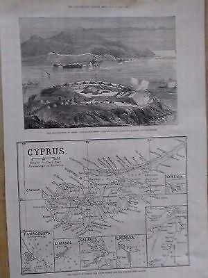 Crete  _ Cyprus Antique Original, Map Engraving Print 1878  RARE