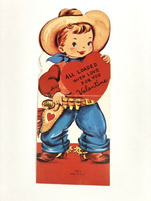 Vintage Mid Century Cowboy Valentine Western Country 40s 50s 60s Square Dance