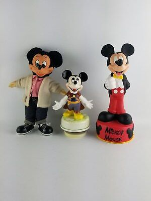 - Lot Of 3 Mickey Mouse Disney Collectibles - Bank, Music Box & Sock Hop