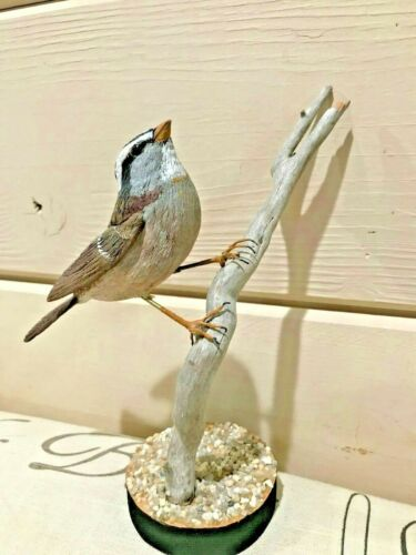 RARE Vintage White Throated Sparrow Wood Carved By Don Adams 1998 Glass Eyes