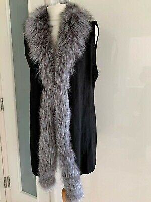BNWT Jayley Black Faux Suede And Fox Fur Gilet Size 12 RRP £162.00