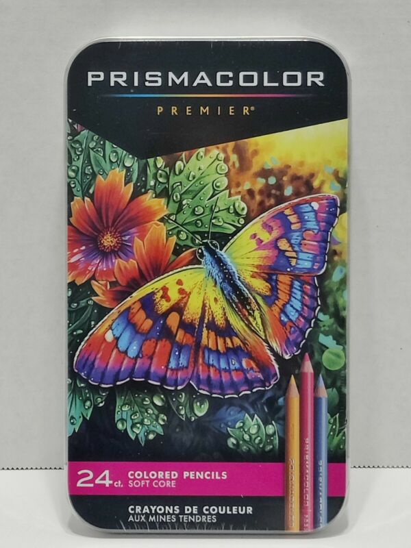 NEW PRISMA COLOR DRAWING 24 COUNT COLORED PENCILS - SOFT CORE IN TIN ARTISTS