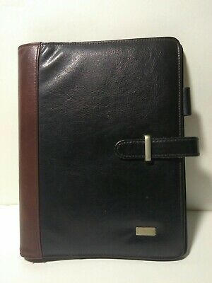 Brown Black Leather Franklin Covey Classic 1.25 Rings Planner Binder