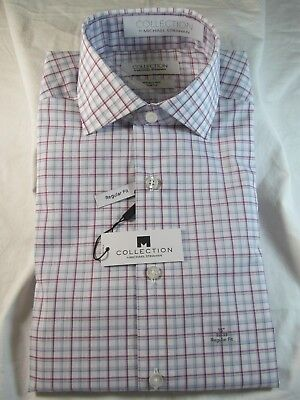 Nwt Collection By Michael Strahan Dress Shirt  Reg  Fit  Berry Multi Check