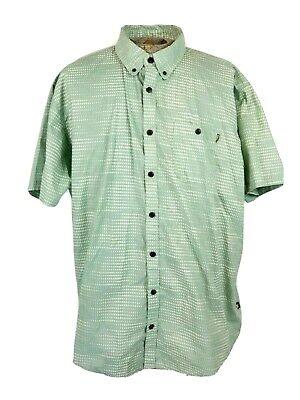 Howler Bros Short Sleeve Button Up Polo Shirt Green Polka Dots Mens 2XL XXL