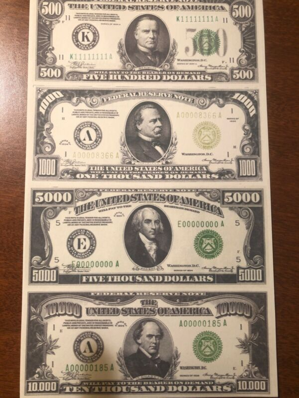 Copy 1934 Green Seal $500-$10,000 Uncut Reproduction Currency Money Sheet