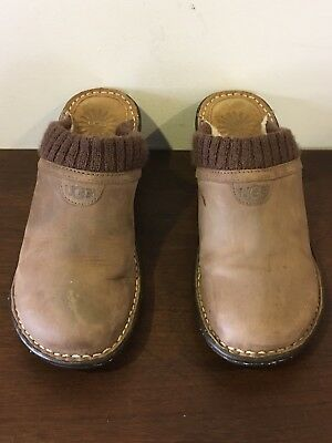 UGG AUSTRALIA 1937 Gael Leather Shearling Wedge Clogs Mules Shoes Women's Size 7 for sale  Charlotte