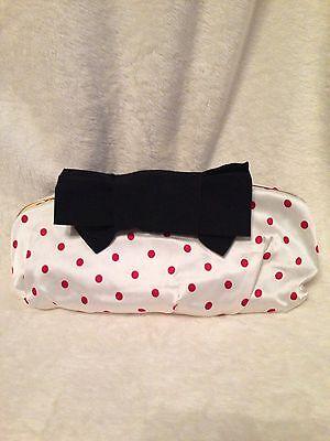 NEW DOLCE & GABBANA Polka Dot Silk Evening Clutch Handbag BLACK RED WHITE $1,000