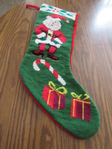 Vintage Completed Needlepoint Christmas Stocking Santa Candy Cane Gifts Velvet