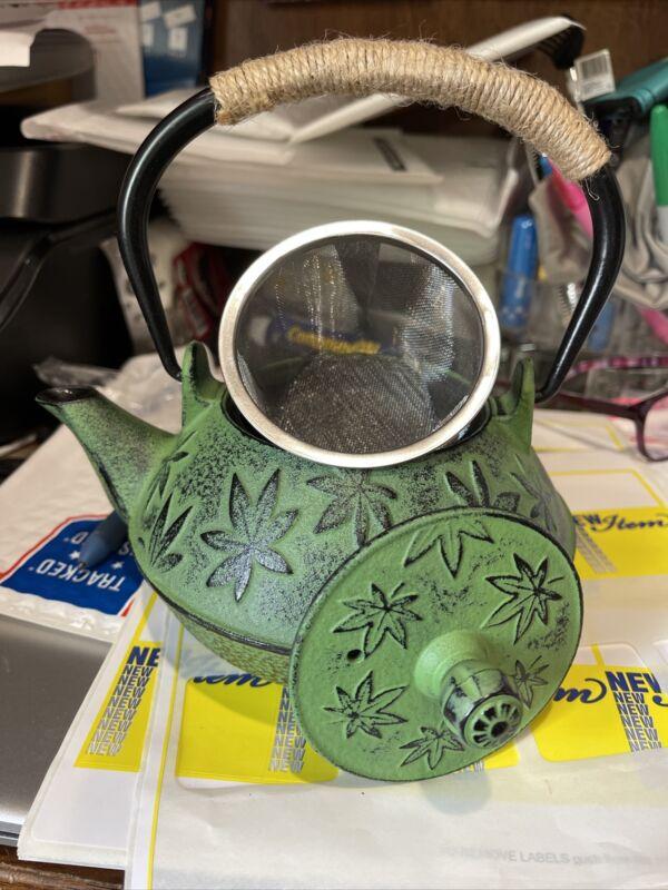 Cast Iron Tea kettle, Sotya Tetsubin Japanese Tea pot (700ml, Green)