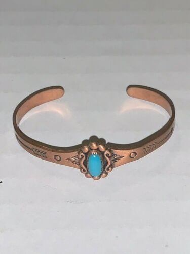 Vintage Childs Solid Copper & Turquoise Cuff Bracelet Pre-owned