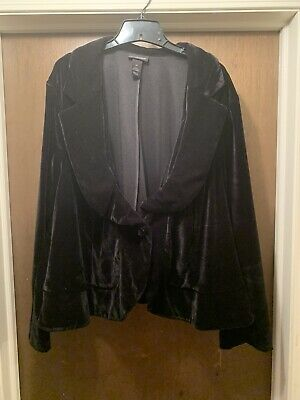 Lane Bryant Solid Black Velvet Blazer Jacket Plus Size 28 Black Velvet Blazer Jacket