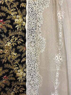 "Victorianna Design Cream Cotton Lace Curtain c1900s period 58""/72"" for sale  Shipping to Ireland"
