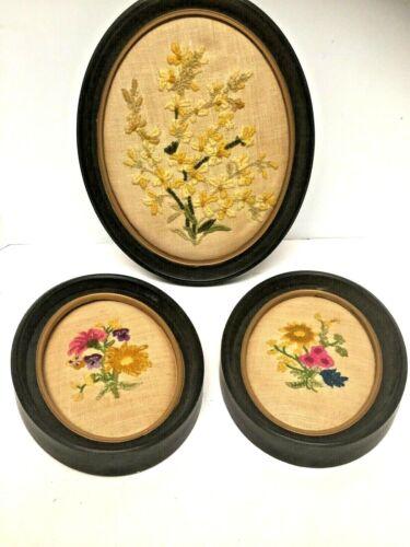 Set of 3 VINTAGE RAISED EMBROIDERY NEEDLEPOINT Floral Oval Framed flowers