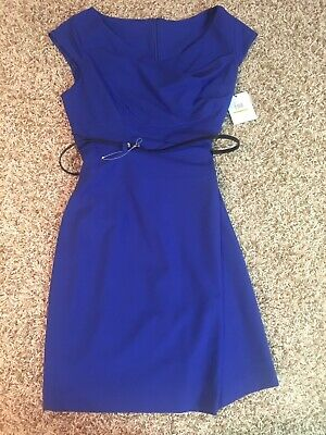 Calvin Klein Drape Neck Belted Sheath Dress Atlantis Blue BNWT 14 SOLD OUT!!