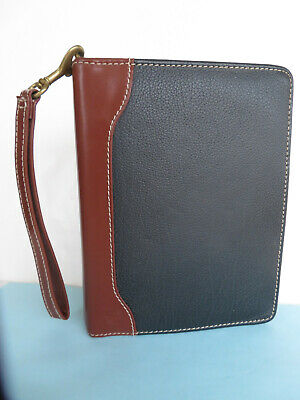 Compact Franklin Covey Blackbrown Leather 1 18 Rings Zip Plannerbinder Vgc