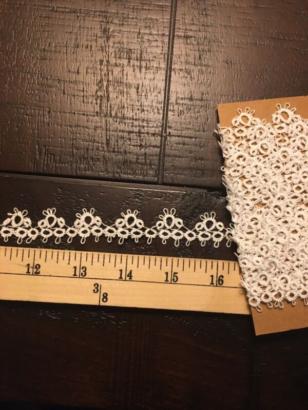 4 Yards White Handmade Tatted Cotton Lace Trim