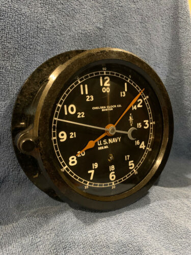 ** Fully Restored** WWII 1942 US NAVY 12/24hr. Chelsea Ships Clock