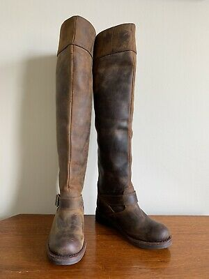 VVGC Jeffery Campbell Brown Leather Riding Knee High Boots US 6/UK4