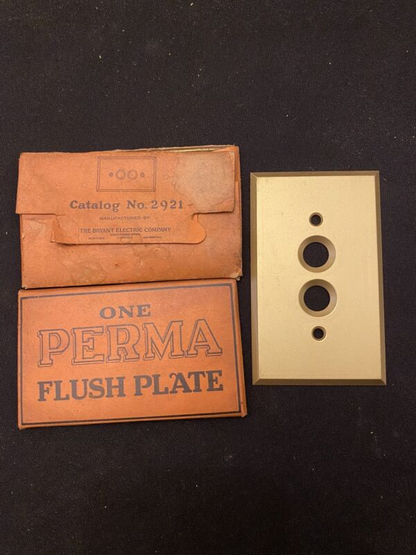 New Old Stock Antique Vintage Double Push Button Brass Light Switch Cover Plate