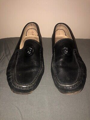 Gianni Versace Black Leather Loafers w/Medusa Head 9US/42EU