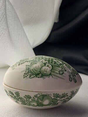 Hand Painted Easter Egg Shaped Trinket Bowl with Lid Vintage Pottery Porcelain