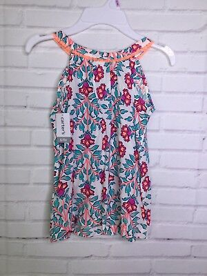 Carters Girls Floral Multi Color Viscose Sleeveless Tunic Shirt Dress Size 6 6X - Girls Tunic Dresses
