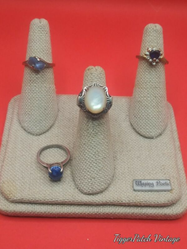 Vtg Lot of 4 Costume Jewelry Rings with Stones sz 4.25-5.25