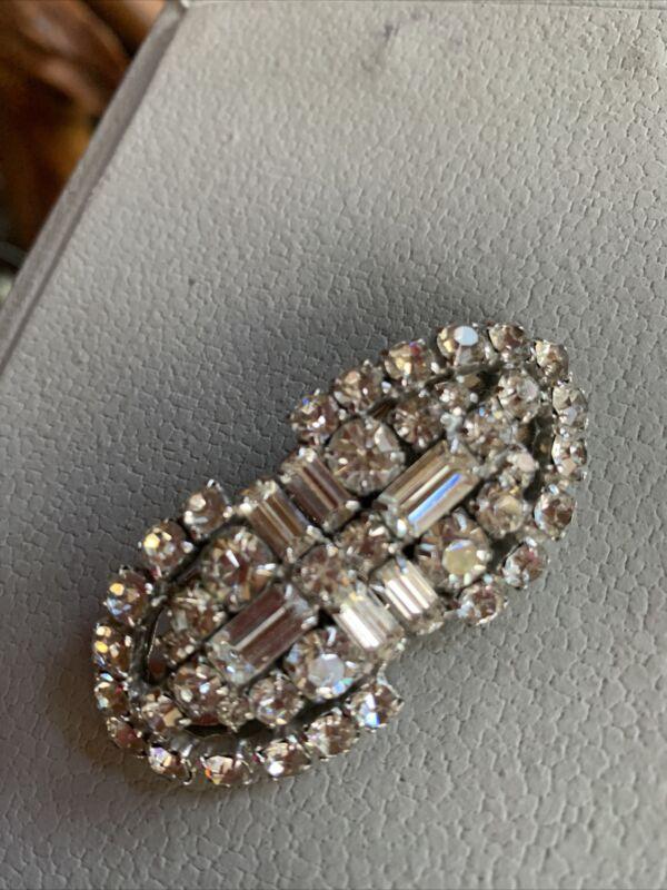 Vintage Juliana Deco Baguette Complete Duette Fur Dress Clips Brooch Pin Silver