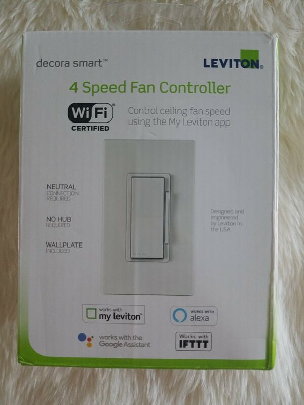 Leviton Decora Smart Wi-Fi 4 Speed Fan Controller White New open box