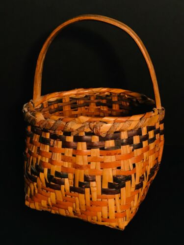RARE HISTORIC CHEROKEE RIVERCANE BERRY BASKET,WALNUT & BLOODROOT DYES,EXCELLENT
