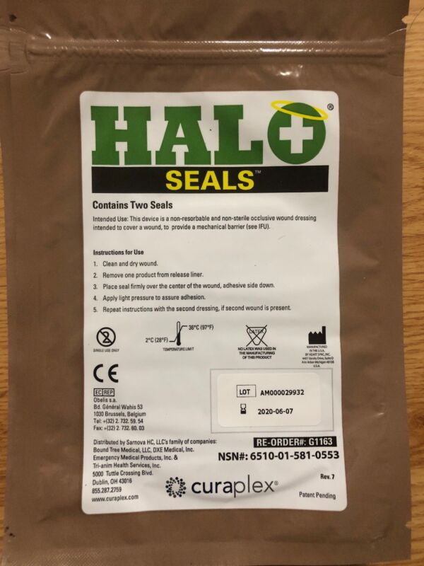 2 Packs - Halo Chest Seals 2 Per Package EXP: 2020-08 Occlusive Dressing