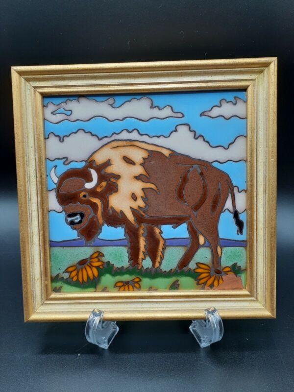 """Vintage Framed Elany Tile Of Buffalo,  Bison 7"""" Framed"""