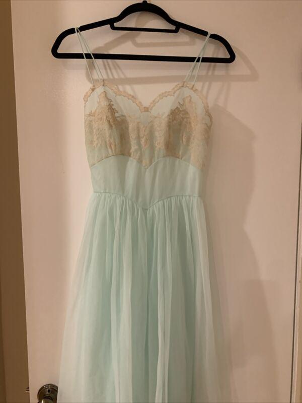 Vintage 1960's Vanity Fair Light Blue Nightgown/Slip Sz S