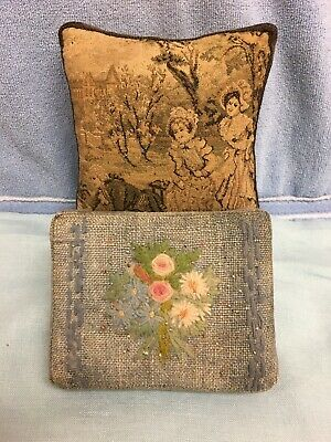 Vintage Antique Sewing Pillow Pincushions (1) Tapestry & (1) Embroidered W.I.