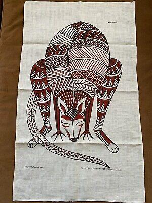 Vintage Cloth Linen Tea Towel Aboriginal Hand Painted Kangaroo