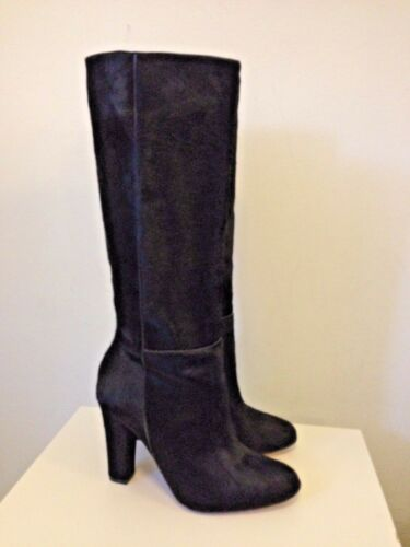 ALEXANDRE BIRMAN Black Pony Hair Knee-High Chunky Heeled Boots Shoes Size 8