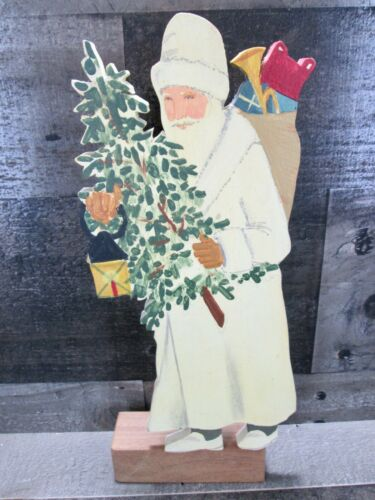 Santa Claus Wood Figurine Hand Painted Christmas Decor Folk Art Signed Arabia