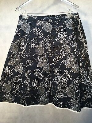 Womens Van Heusen Skirt Black With White Embroidery Size 10](Vans With Skirts)