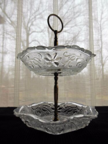 Indiana Glass Clear Sandwich 2 Tier Handled Hexagonal Bowl Candy Dish