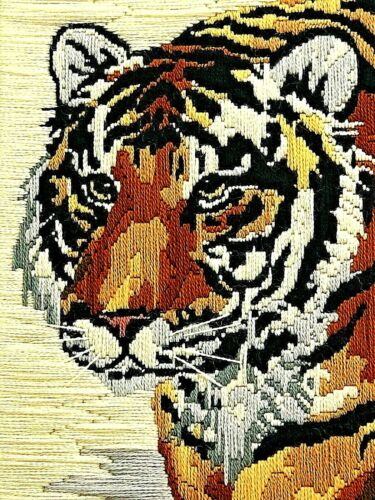 Crewel Long Stitch Art Tiger Completed Candamar Designs Used Lion Cat