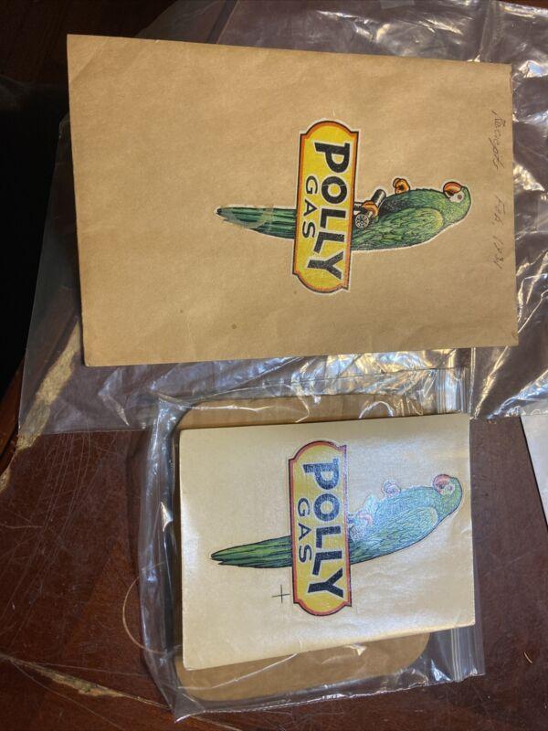 Very Rare Original Polly Gas Reciepts Bag And Polly Decal 1930