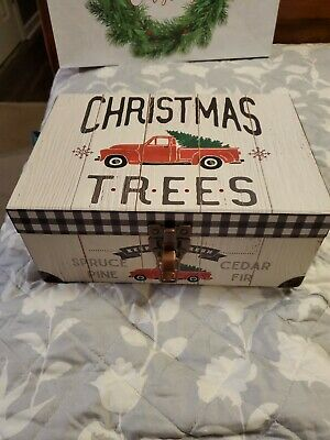 New! Red Truck Christmas Tree Box Vintage Buffalo. with antique brass lock