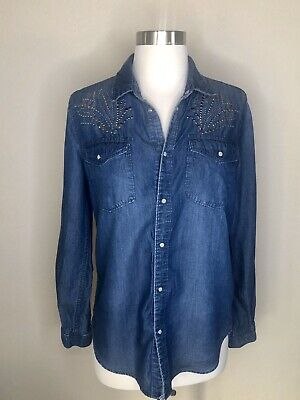 H&M &Denim women's Blue Denim Snap Button Down Embellished blouse top shirt 4