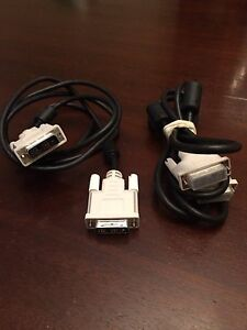 2 DVI Male to Male Cables for MacBook